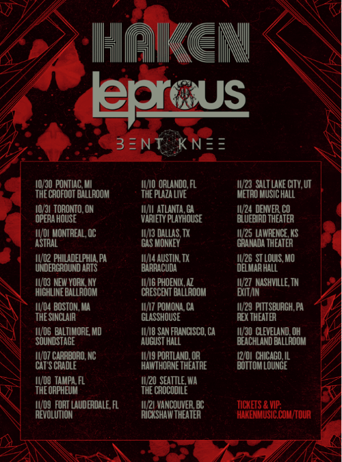 HAKEN & LEPROUS join forces for North American tour with special guests BENT KNEE