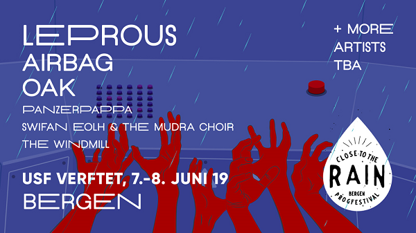 Leprous & Airbag Amongst The First Bands Announced For Bergen's Close To The Rain Prog Festival In June